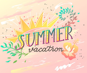 Summer Vacation handwritten lettering quote for banner, poster, brochure, t-shirt printing design. Vector illustration