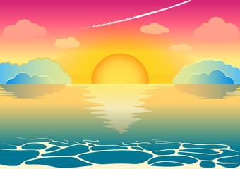 A beautiful fairy sunset or a sunrise on the sea horizon.