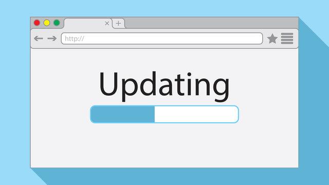 Flat style browser window on light blue background. Updating illustration.
