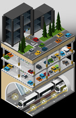 Vector isometric illustration of an element of urban infrastructure consisting of a subway transport hub, underground multi storey car park and parked vehicles.
