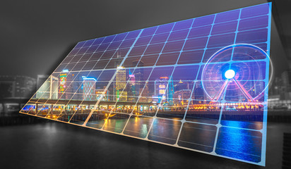 Concept Images of Solar System lighting up the City