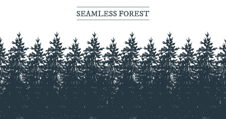 Vector illustration of a seamless coniferous forest panorama strip border. Vintage hand-drawn style.