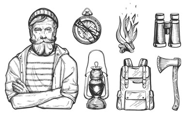 Vector illustration of hand drawn forest camping vacation objects set with a hiker man portrait. Compass, bonfire, ax, binoculars, backpack, lantern. Vintage engraving style.