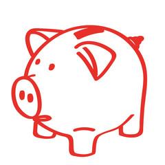 Handgezeichnetes Sparschwein in rot