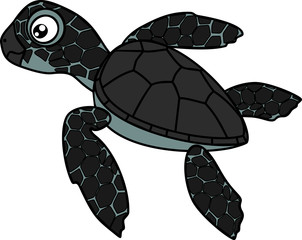 Cute cartoon hatchling of sea turtle on white background