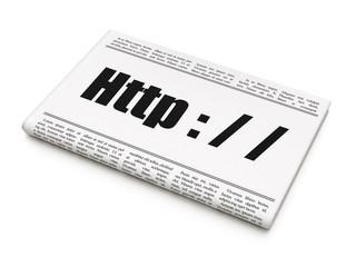 Web development concept: newspaper headline Http : / / on White background, 3D rendering