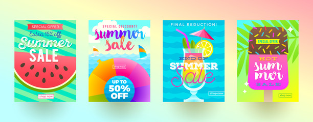 Set of summer sale promotion banners. Vacation, holidays and travel colorful bright background. Poster or flyer design. Vector illustration.