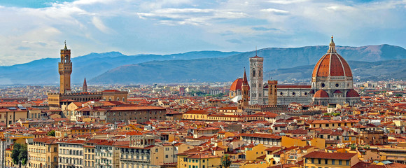 Florence Italy Panorama with Arno River Old Palace and the Big D