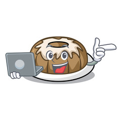 With laptop bundt cake character cartoon