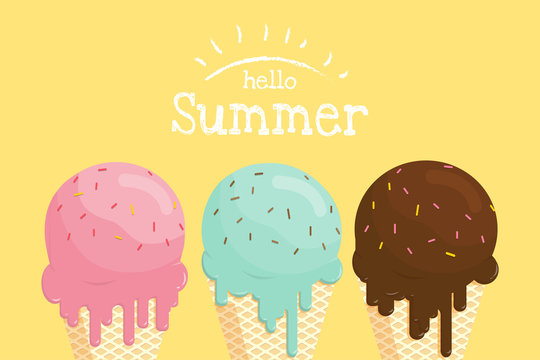 Melting ice cream in waffle cone hello summer banner.