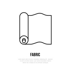 Fabric roll flat line icon. Textile sign. Thin linear logo for sewing, curtains store.
