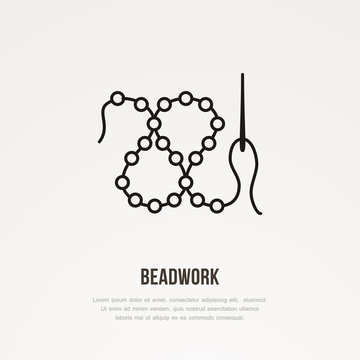 Beadwork workshop flat line icon. Beads with needle sign. Thin linear logo for sewing store.