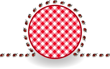 Ladybugs around label picnic plaid