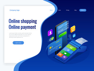 Isometric shopping online and payment online concepts. Internet payments, protection money transfer, online bank vector illustration