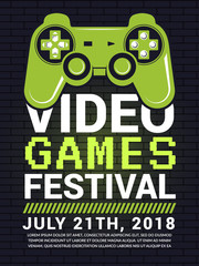 Poster of video game festival. Cyber sport concept with gamepad picture