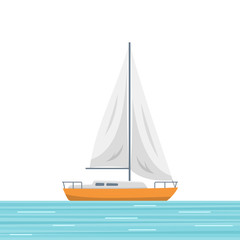 Sailboat isolated vector illustration. Small boat with a sail, sailing ship on the sea. Flat style image