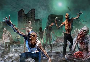 Zombie Scene 3D illustration Wall mural