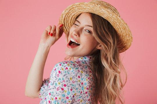 Close up portrait of a joyful young woman