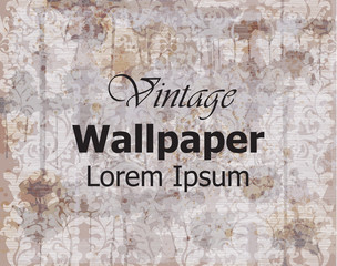 Vintage wallpaper Vector. Royal ornament. Elegant pattern texture. Old stained effects