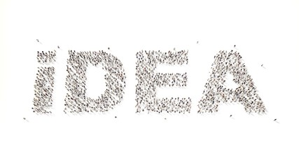 many people in form text idea 3d rendering