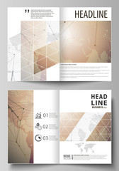 The vector illustration of the editable layout of two A4 format modern cover mockups design templates for brochure, flyer, booklet. Global network connections, technology background with world map.