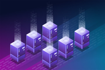 Blockchain isometric illustration. Data center or cloud storage. Crypto currency farm with isometric computers. Cloud hosting concept. Storage and hosting technology. Trendy vector with gradients.