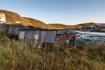 sheds in the village Teriberka, Murmansk region, Russia