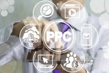 PPC - Pay Per Click SEO Web Technology concept.