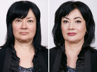 Comparative portrait of mature woman with and without makeup.