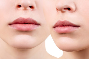 Collage of perfect and plump female lips.