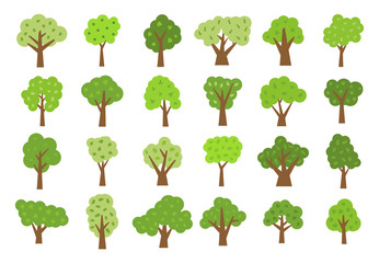 Set of twenty four green trees with leaves. Vector illustration