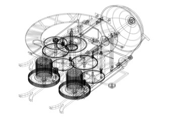 Vintage Clock Mechanism Architect blueprint - isolated