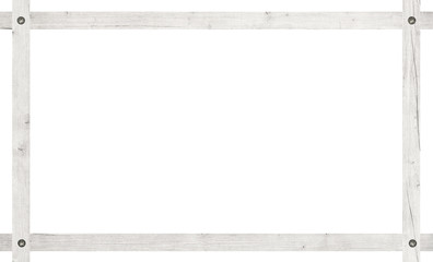 Composition of light wooden planks screwed frame isolated on white background
