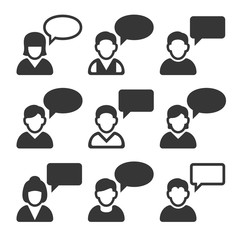 Speaking People Avatars. Chat Icons Set. Vector