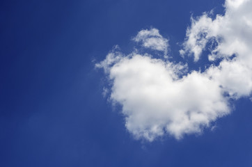 cloud on a blue sky in the shape of a heart