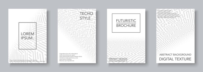 White geometric covers set - digital design. Abstract perspective backgrounds, cards, posters, brochures Wall mural