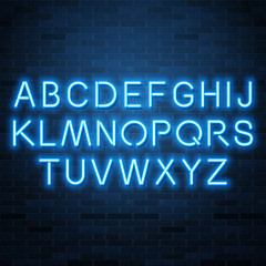 Neon blue vector alphabet, set of realistic fluorescent glowing letters