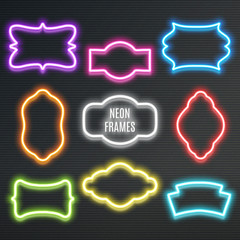 Set of realistic neon frames, vector illustration