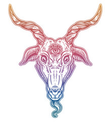 Demon goat Baphomet with sacred occult eye. Satanic goat head. Binary satanic symbol.