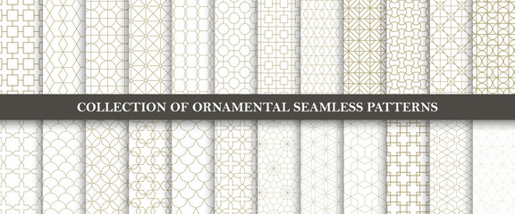Collection of seamless ornamental vector patterns. Grid geometric oriental design. Fototapete