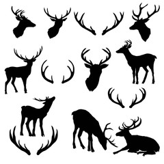 vector large collection of deer silhouettes