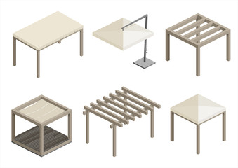 Set of modern beach pavilions, gazebos and umbrellas for terraces and spas. Vector graphics