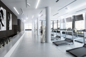Laufbänder im Fitness-Zenter, leer (Konzept)