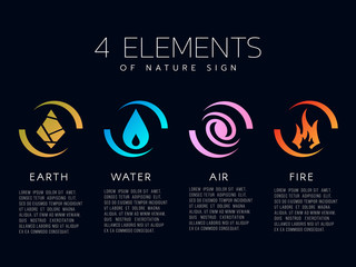 4 elements of the nature icon sign. Water, Fire, Earth, air. vector design
