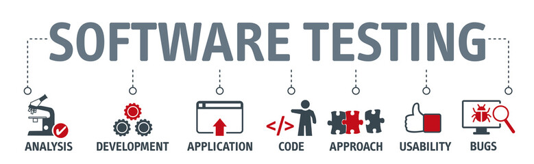 Banner software testing with vector icons