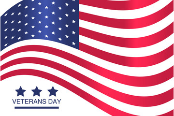Veterans Day. Honoring all who served. USA  flag on white background.