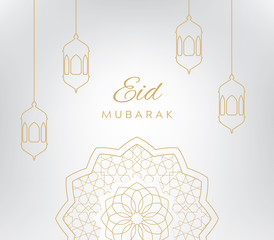 Eid Mubarak banner with line style