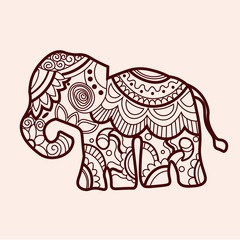 Mehndi colored traditional indian ethnic symbol with elephant. Good for henna design, fabric, textile, t-shirt print,tattoo or poster