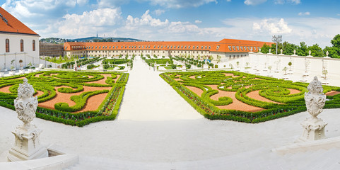 Historical tourist landmark of Bratislava is famous baroque garden behind castle complex