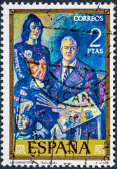 stamp printed by Spain, shows Self-portrait of Solana